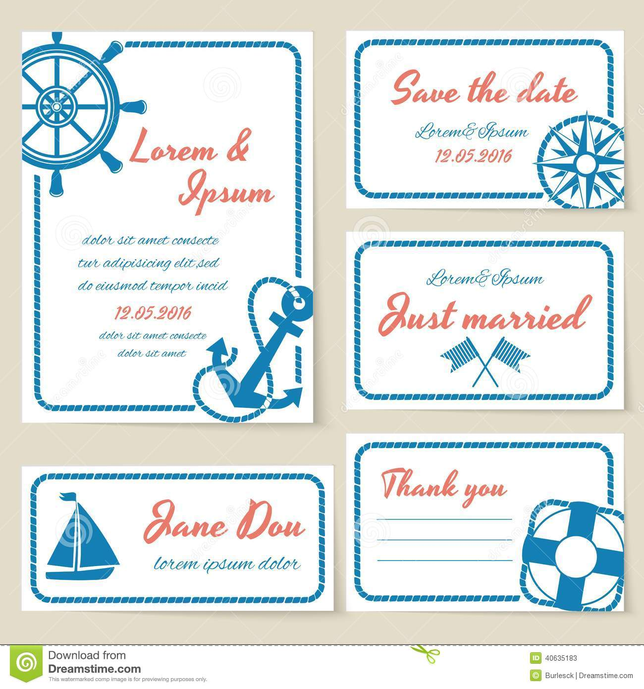 Nautical Style Wedding Invitation And Cards Stock Vector ...