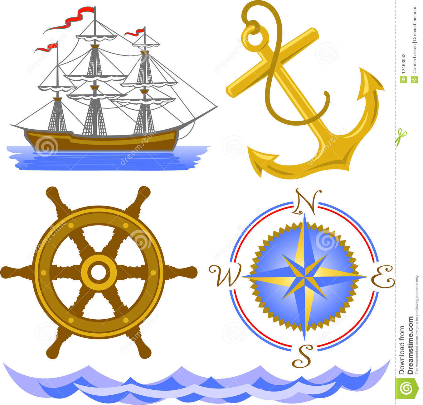 Nautical Symbols/eps Stock Photography - Image: 12463062