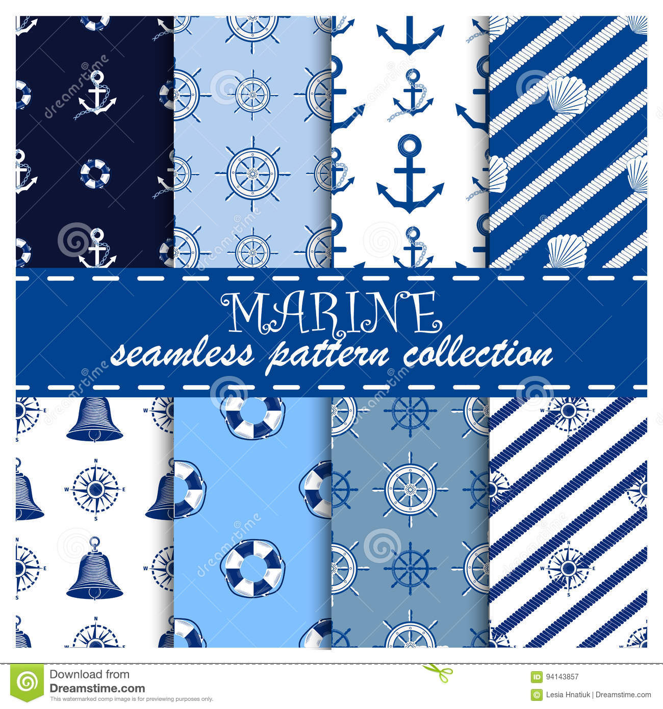 Nautical templates seamless pattern marine sea anchor design emblems graphics vector illustration.