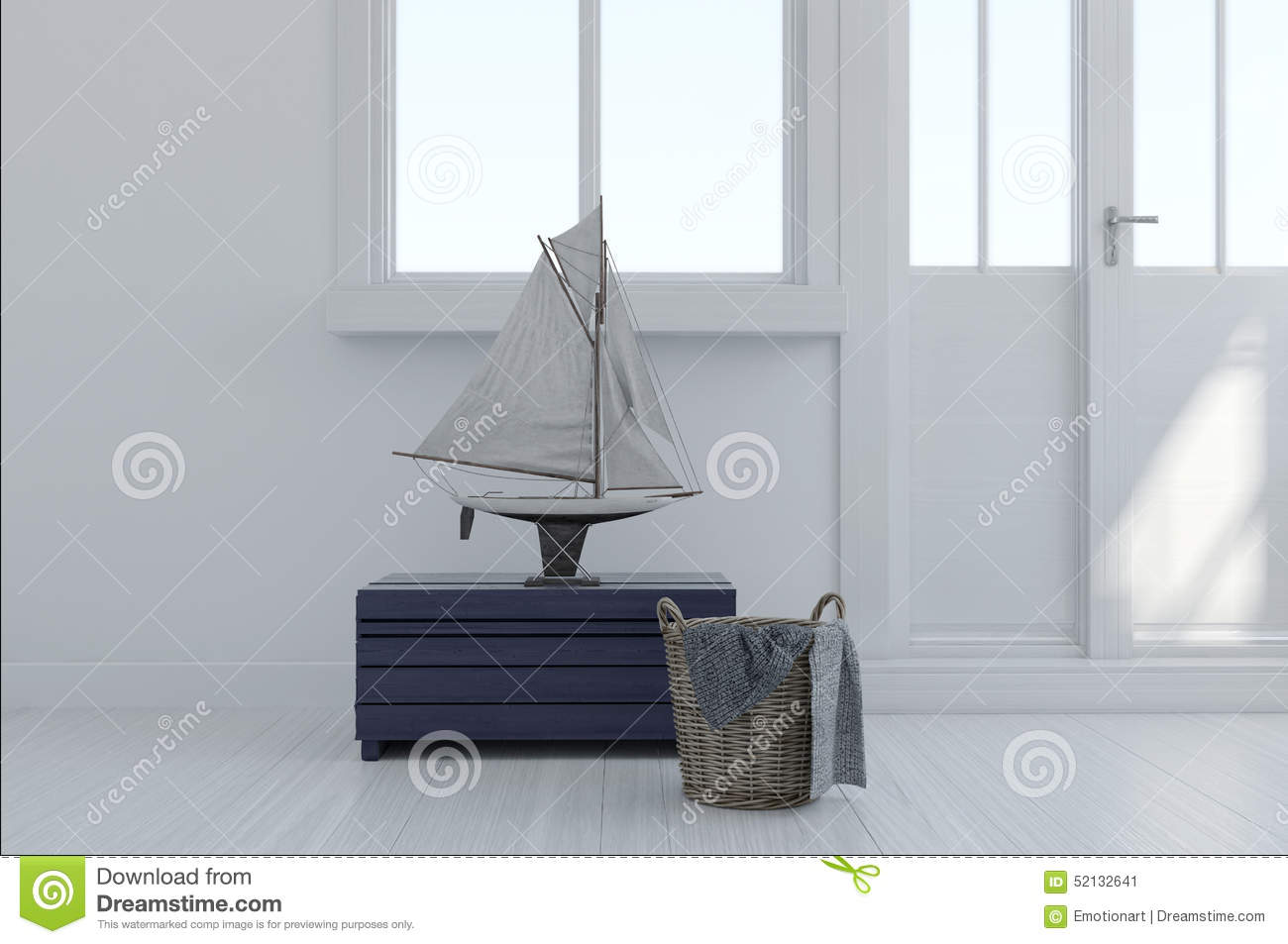 Nautical Themed Interior Decor Stock Illustration