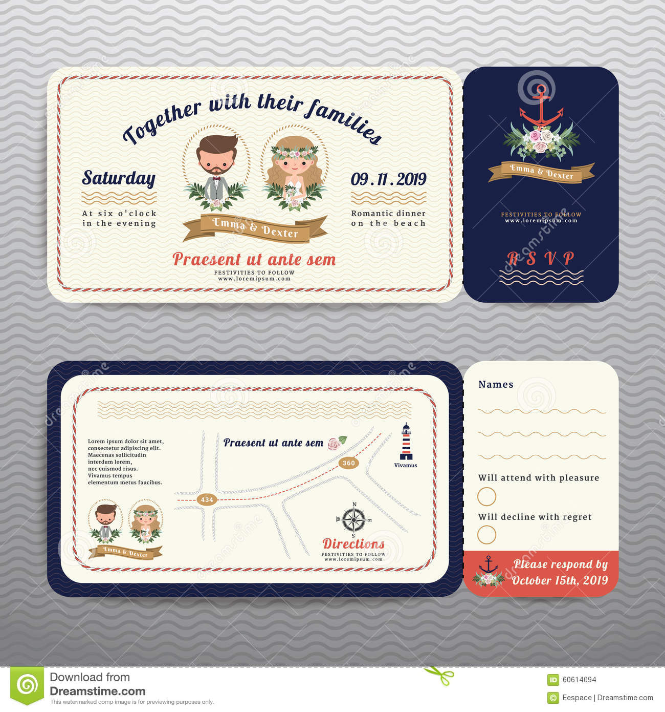 Nautical Ticket Hipster Bride And Groom Wedding Invitation And RSVP ...
