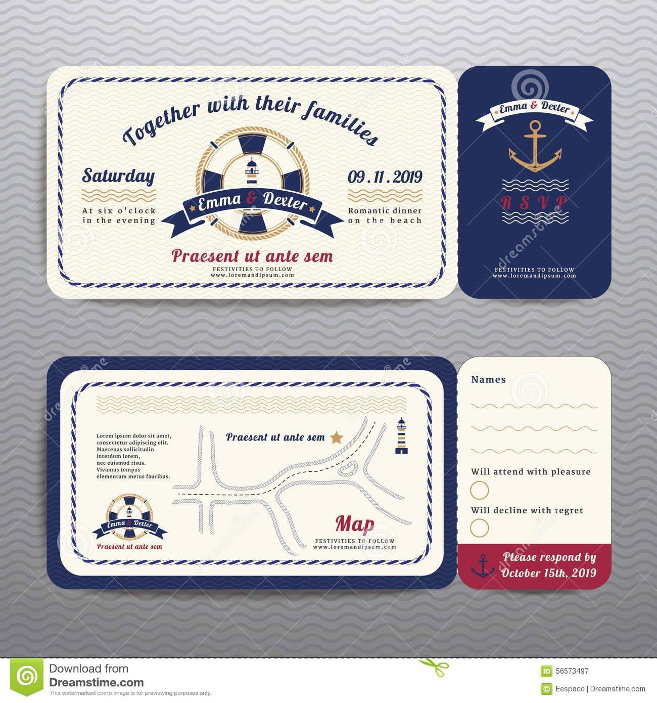 Stag party invite on the beach holiday vacation invitation ca nautical ticket wedding invitation and rsvp card with anchor rope design royalty free stock photography monicamarmolfo Choice Image
