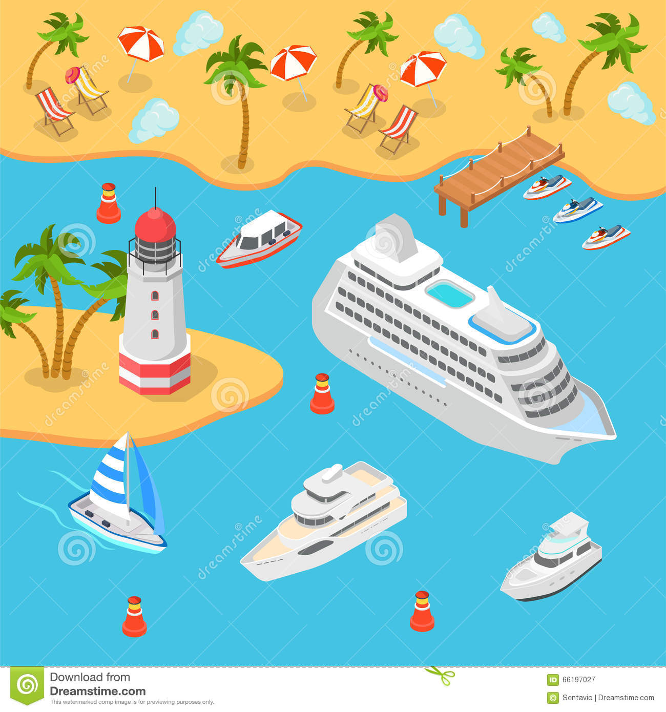 Nautical Transport Sea Beach Cruise Flat 3d Isometric Vector Stock Illustration Image