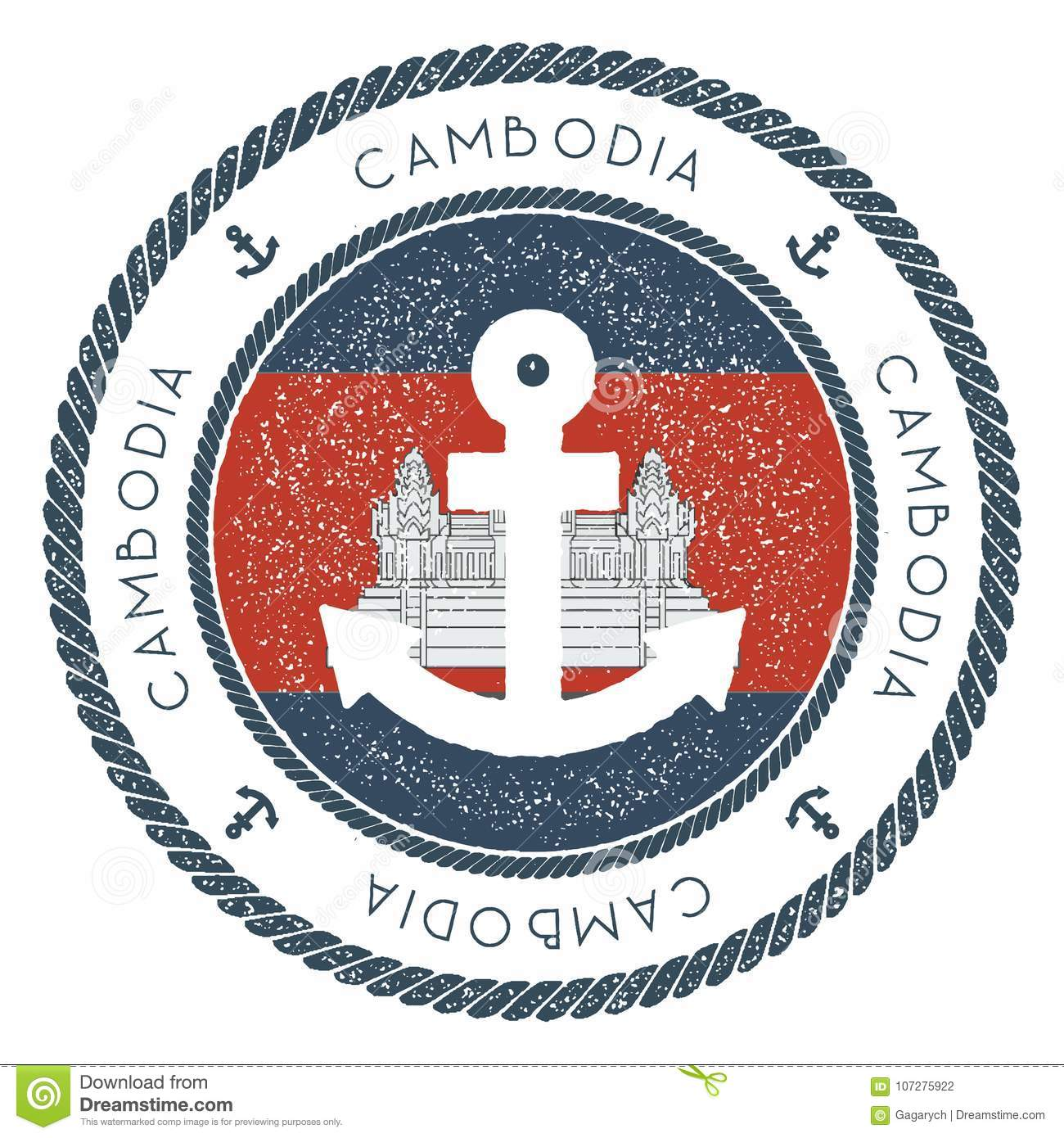Nautical Travel Stamp With Cambodia Flag And Stock Vector