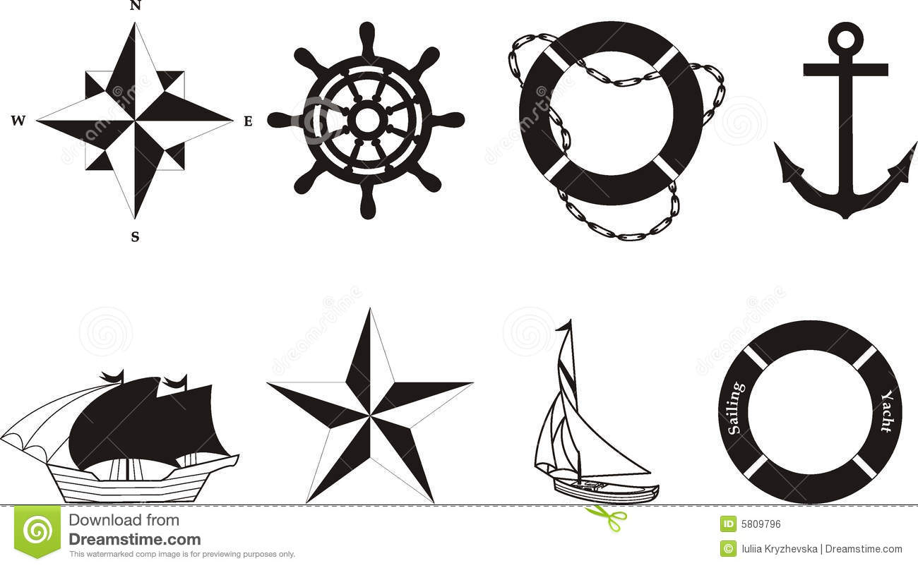 Nautical Vector amp Rasterized Symbols Royalty Free Stock Image