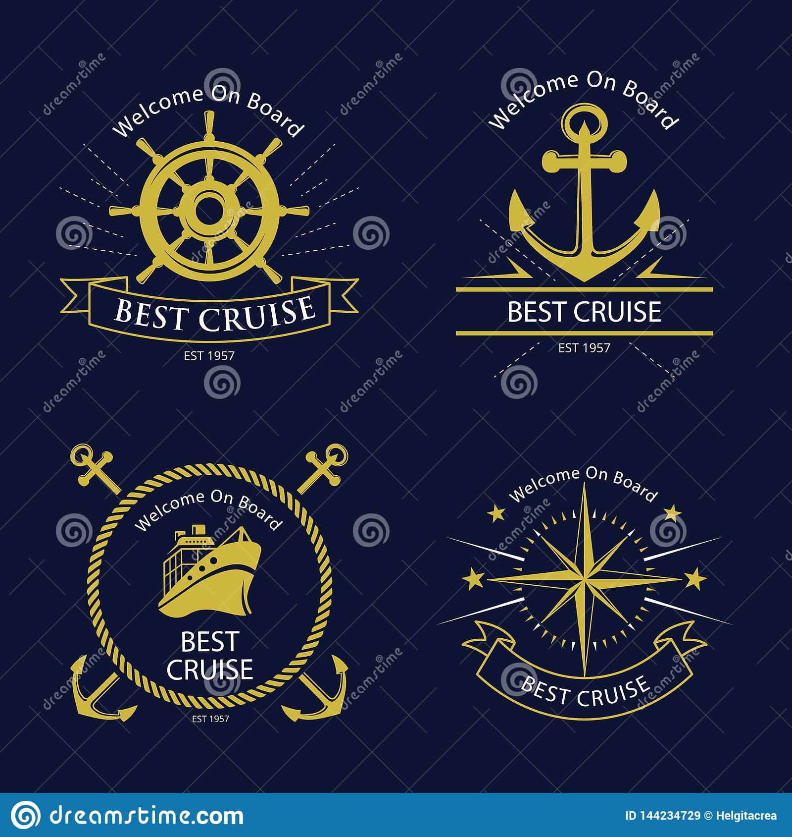 Nautical vintage badges. Vector collection.