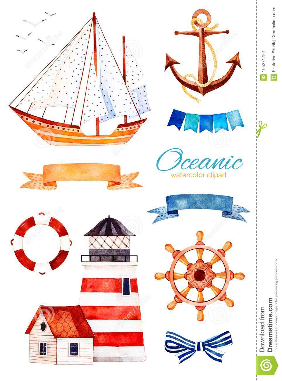 Ocean creature with anchor,lighthouse,ribbon and bow,bunting flags,sailboat
