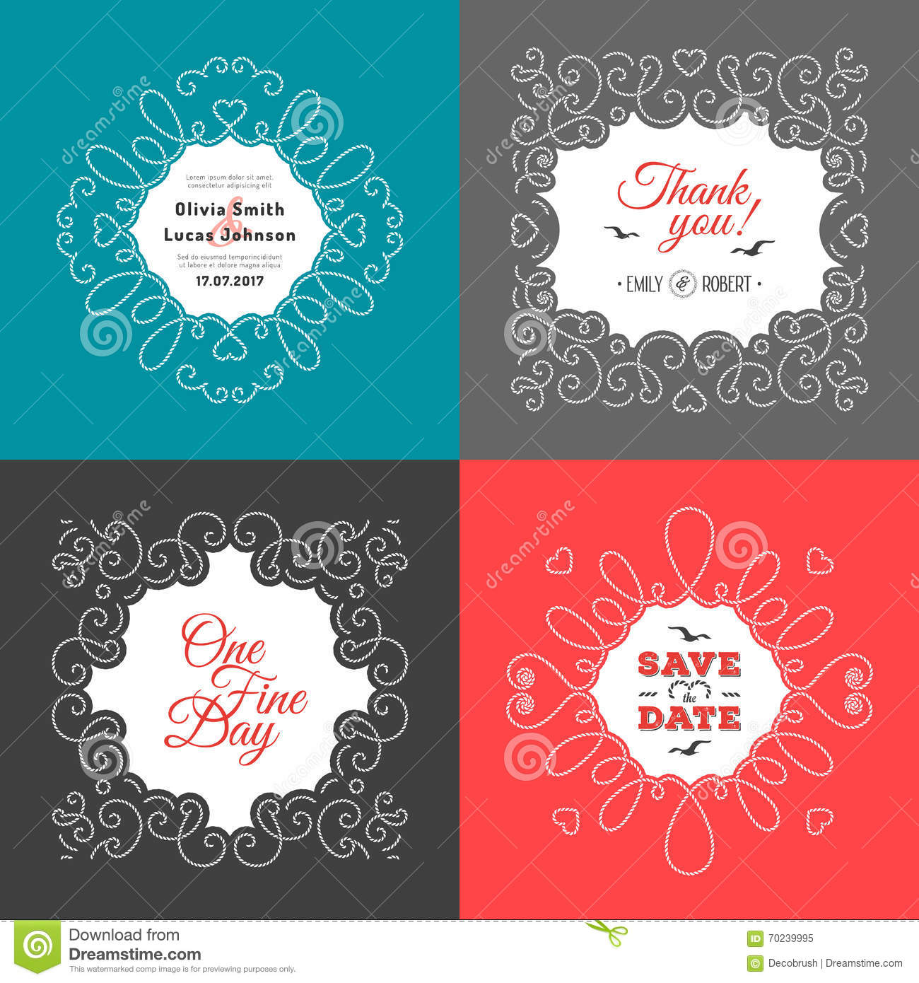 Nautical Wedding Invitation Marine Vector Save The Date Cards Stock ...