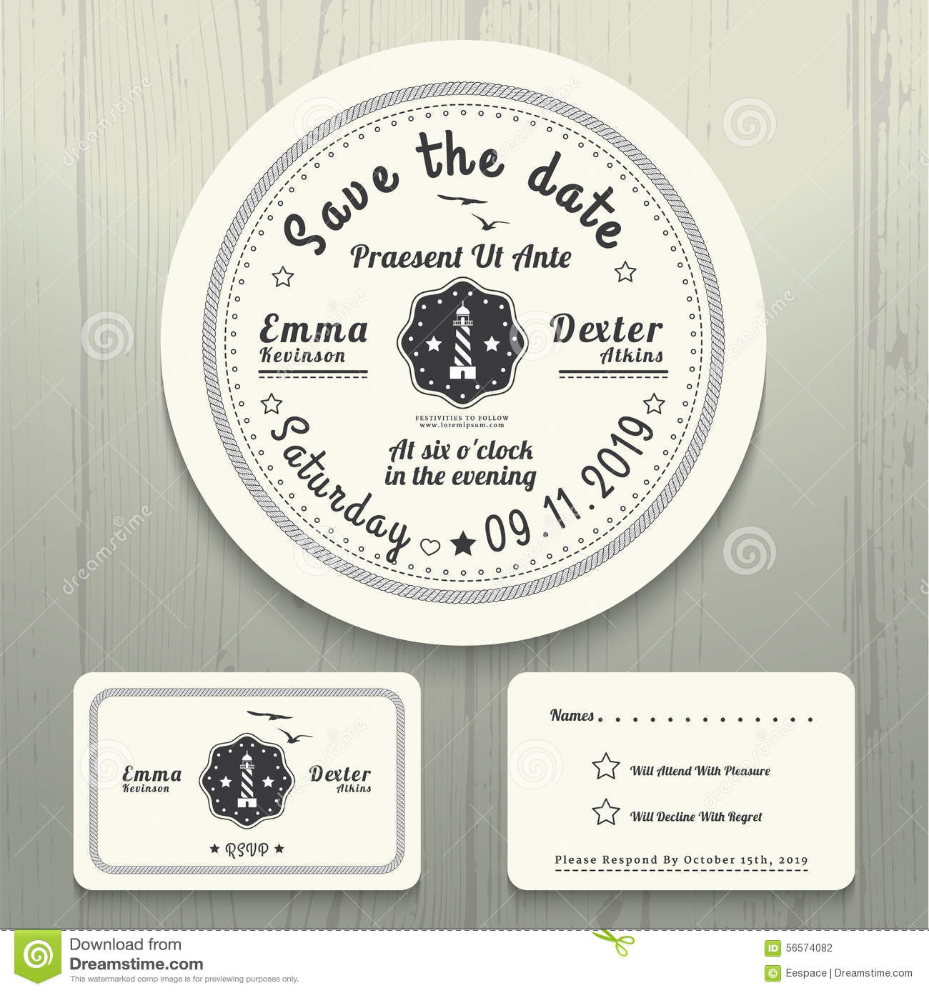 Nautical wedding invitation and rsvp round card template set stock nautical wedding invitation and rsvp round card template set stopboris Images