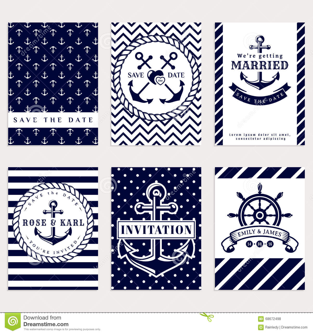 Nautical Wedding Invitations. Stock Vector - Illustration of date ...