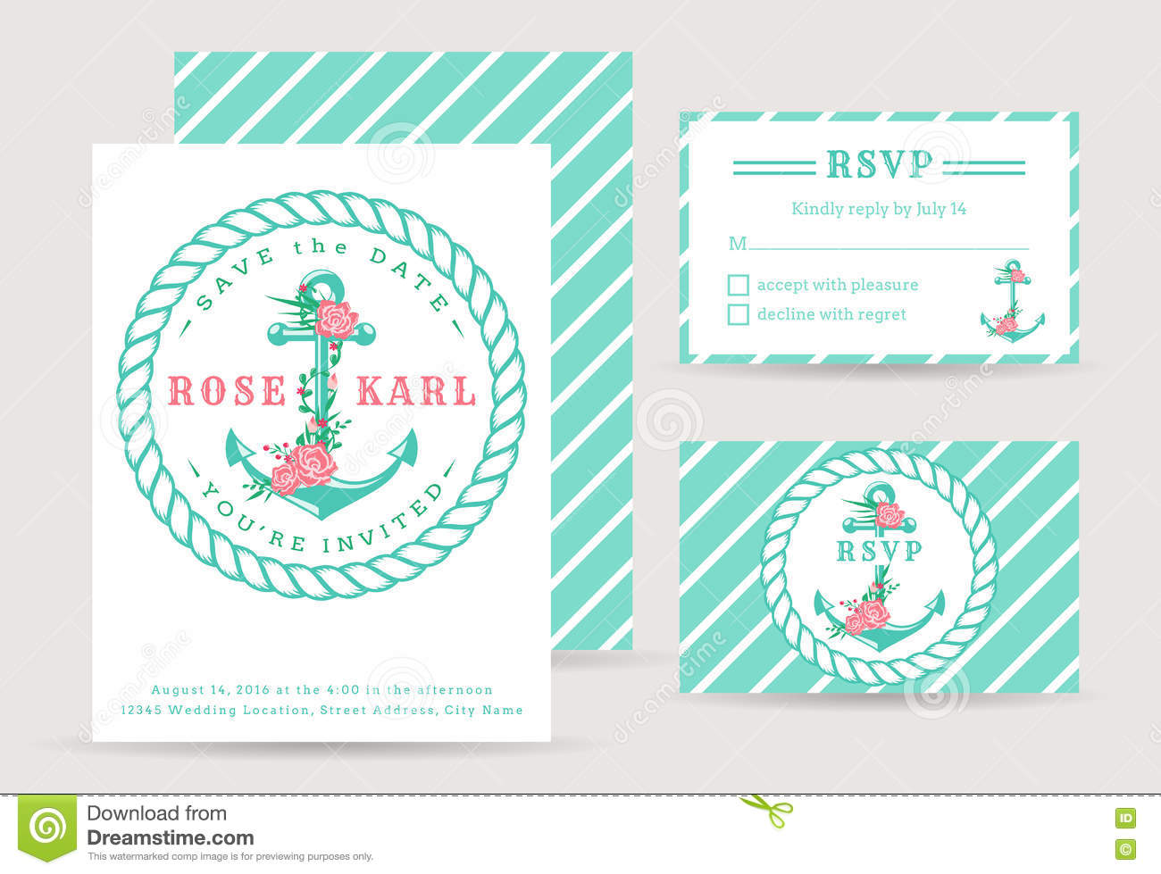 Nautical Wedding Invitations. Stock Vector - Illustration of frame ...