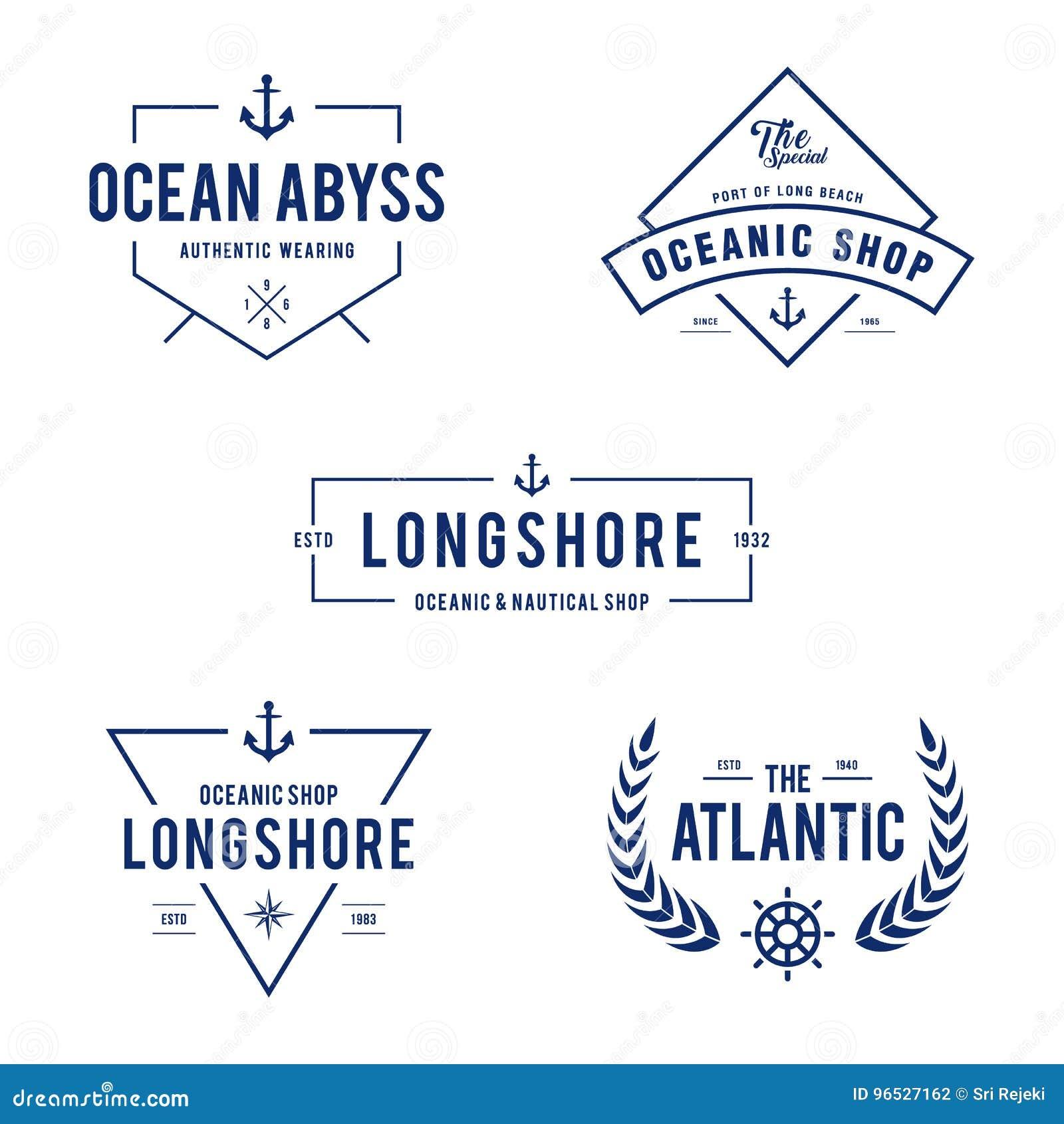 Nautisk tappning och havetikettemblem, Retro designbeståndsdel i vit bakgrund