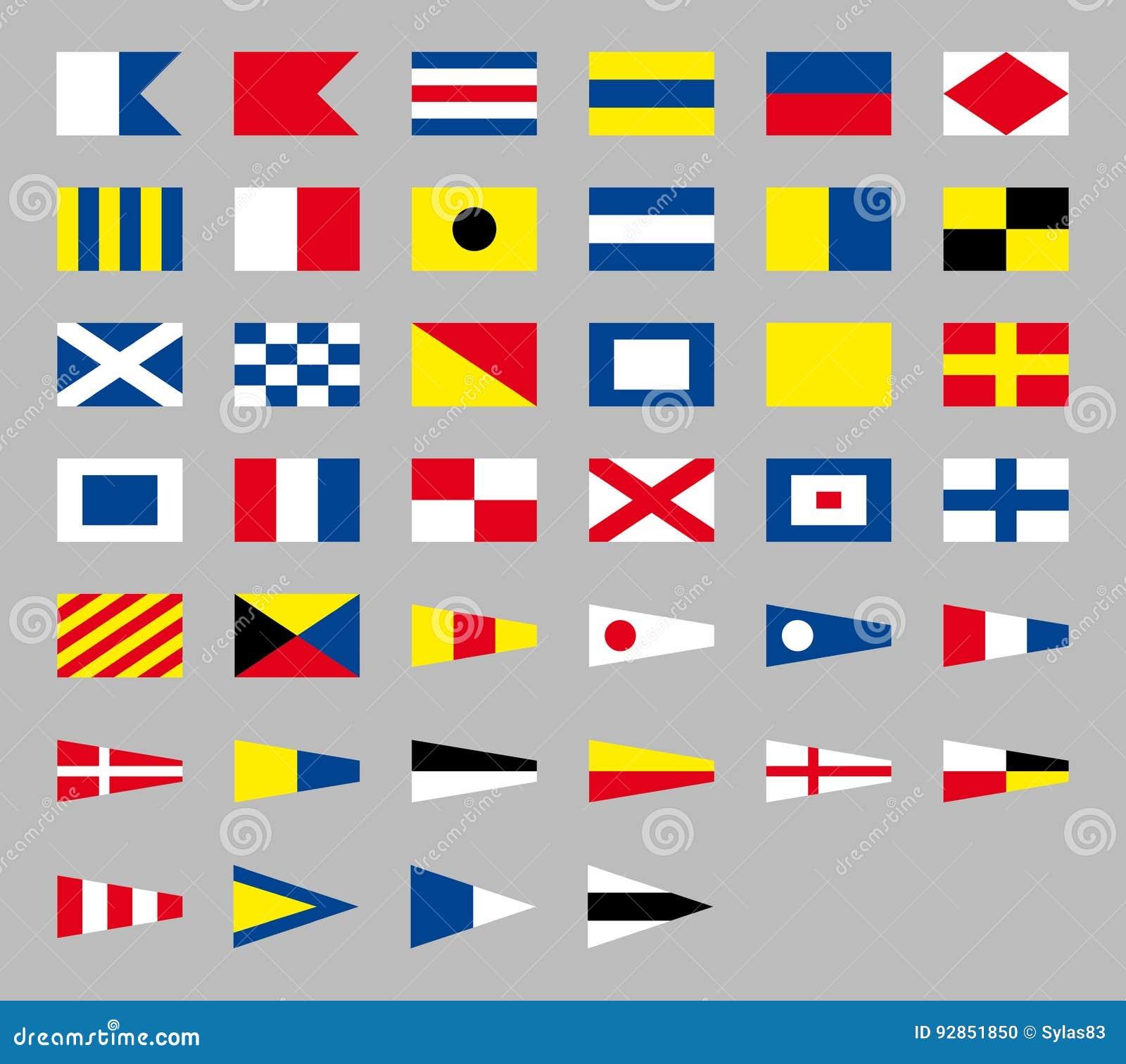 Nautiska flaggor för internationell maritim signal som isoleras på grå bakgrund