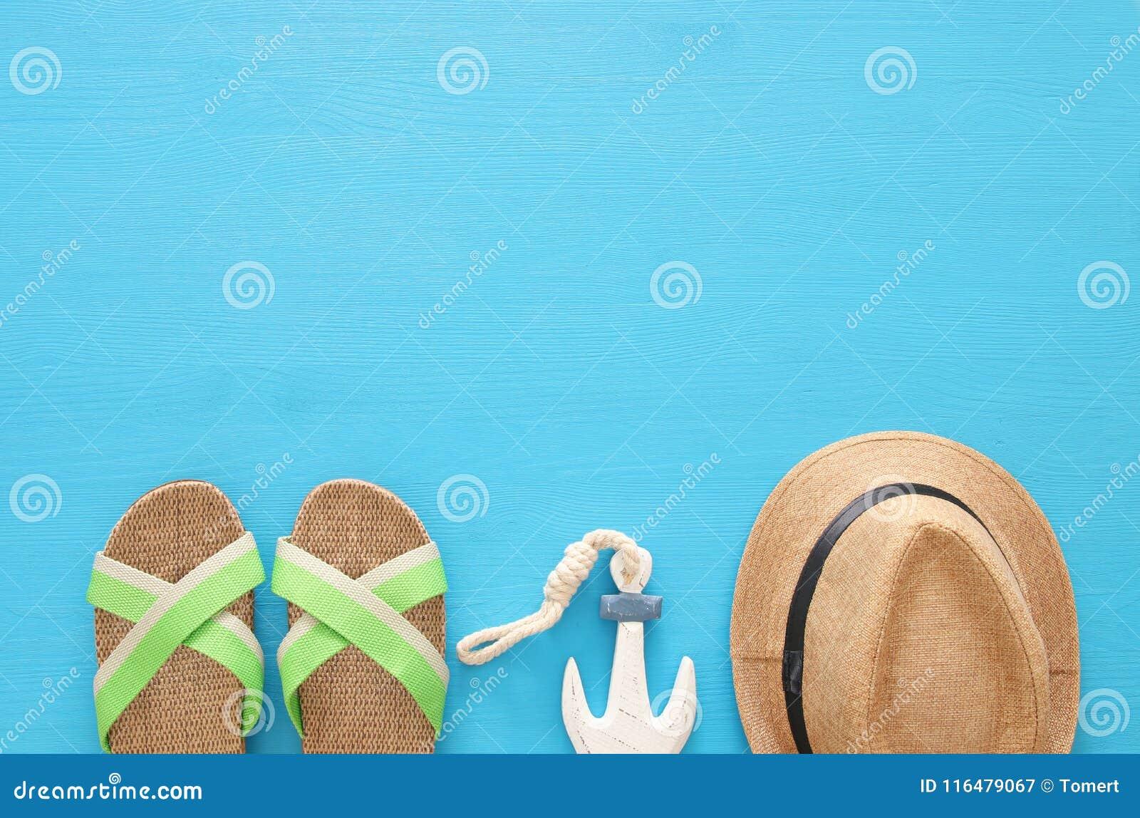 Nautiskt, semester och loppbild med objekt för havslivstil Top beskådar