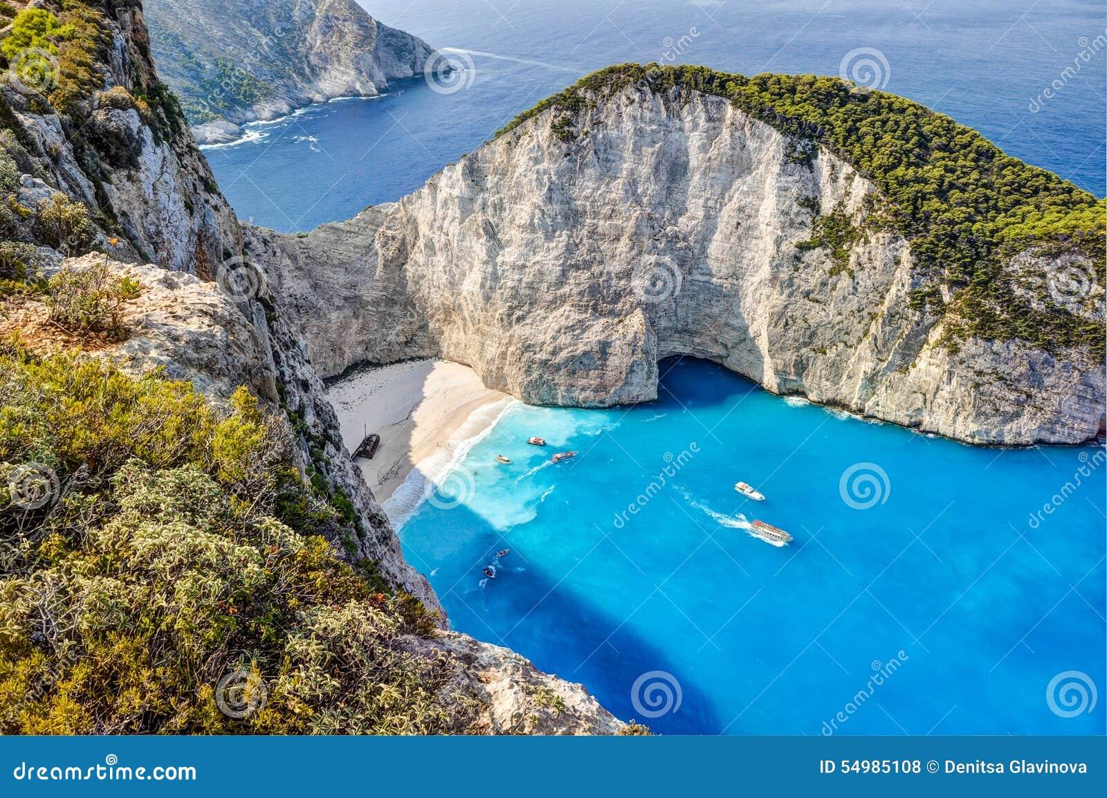 Navagio skeppsbrottstrand, Zakynthos, Grekland