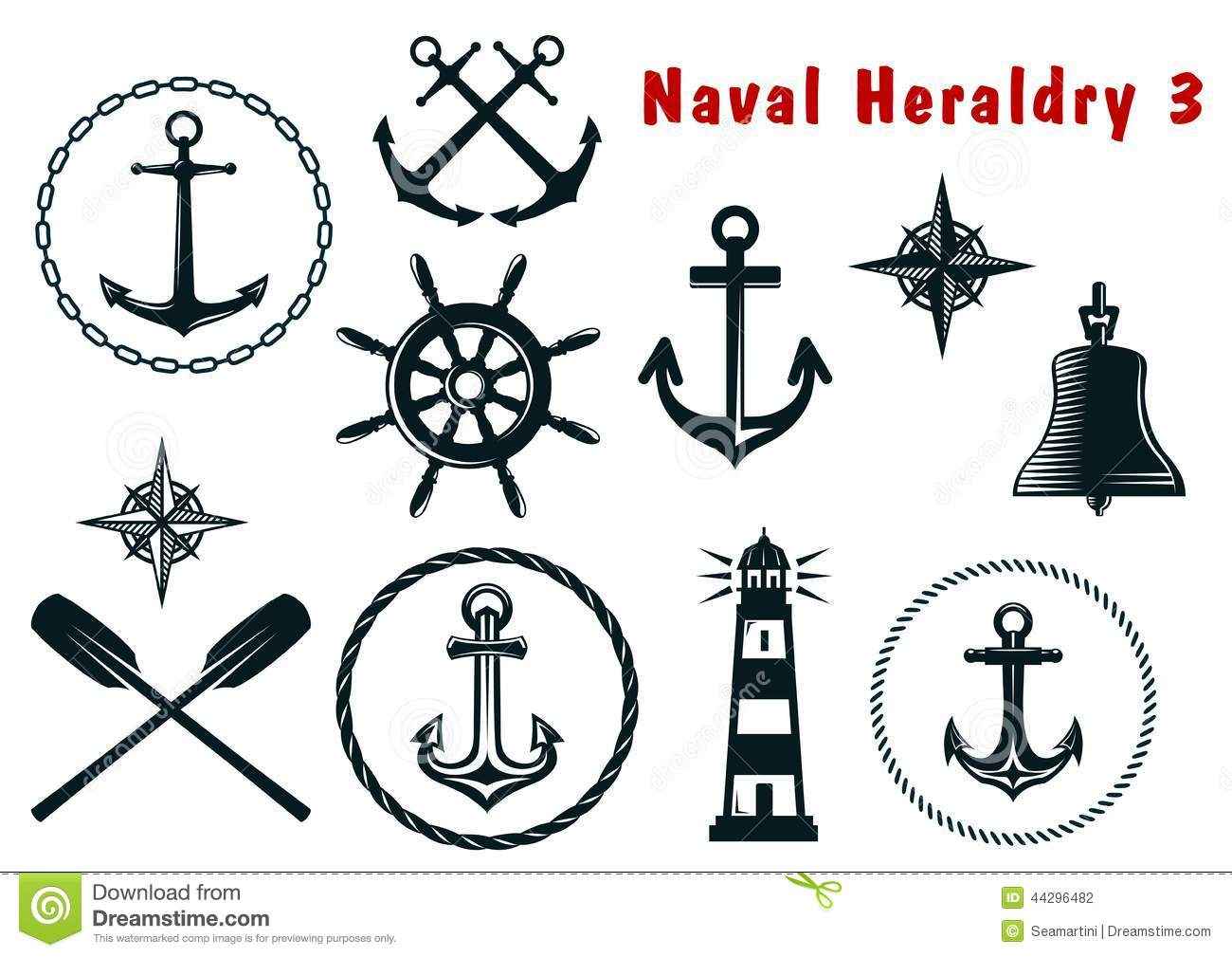 Naval heraldry icons set stock vector. Illustration of ...