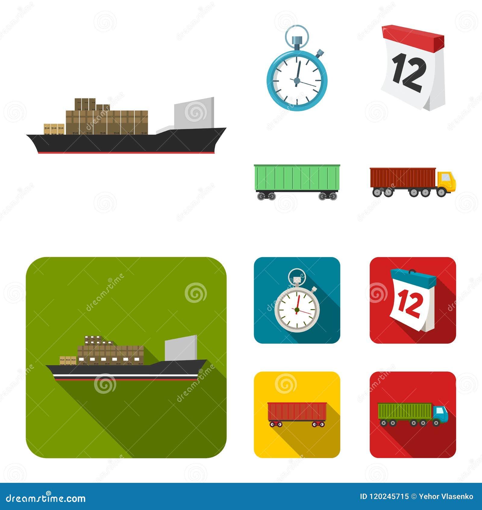Nave da carico, cronometro, calendario, automobile ferroviaria Logistico, metta le icone della raccolta nel fumetto, azione piane