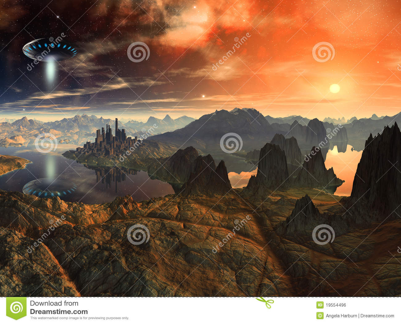 Nave del disco volante sopra il paesaggio straniero