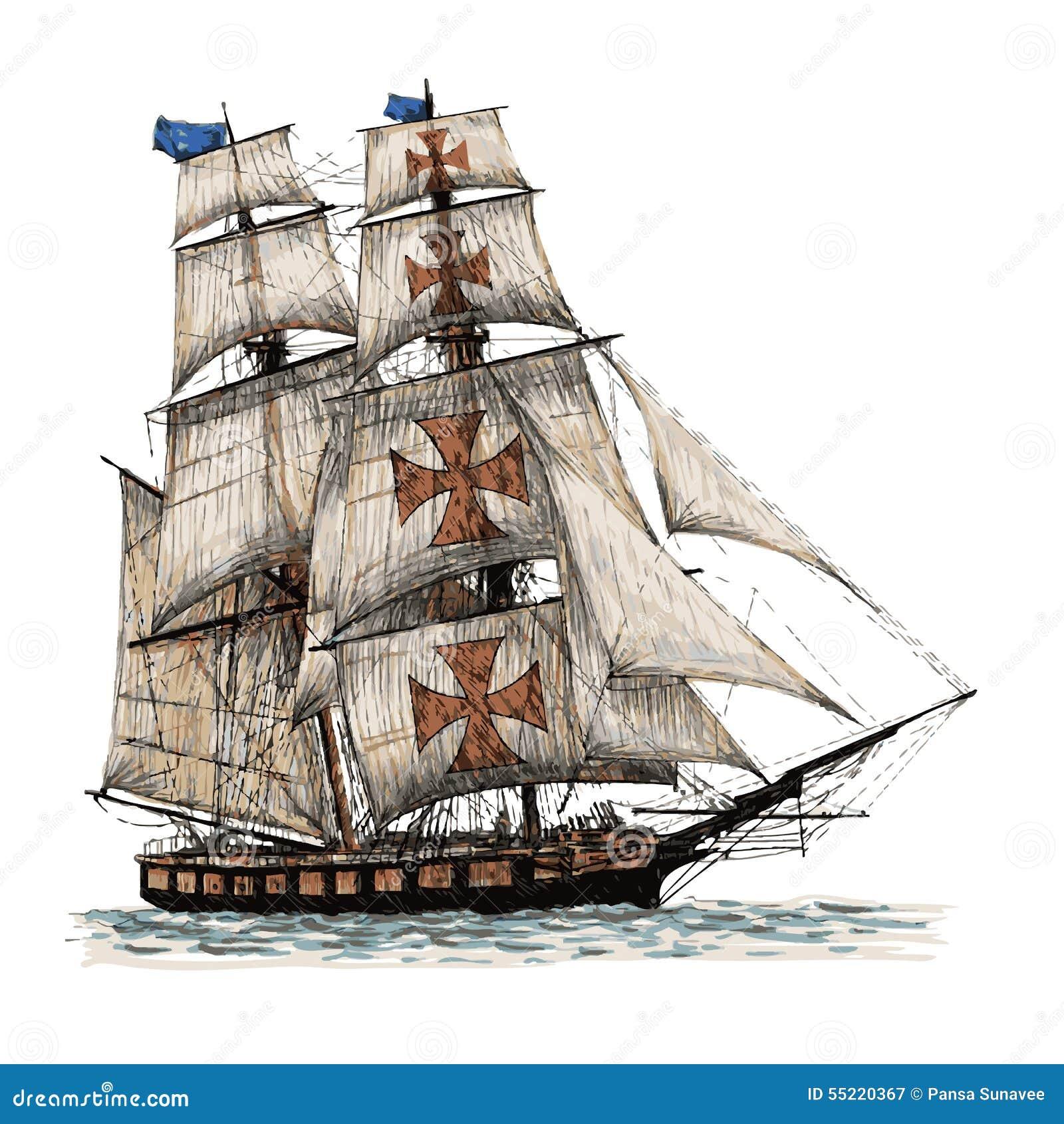Nave Di Columbus Disegnata A Mano Illustrazione Vettoriale ...