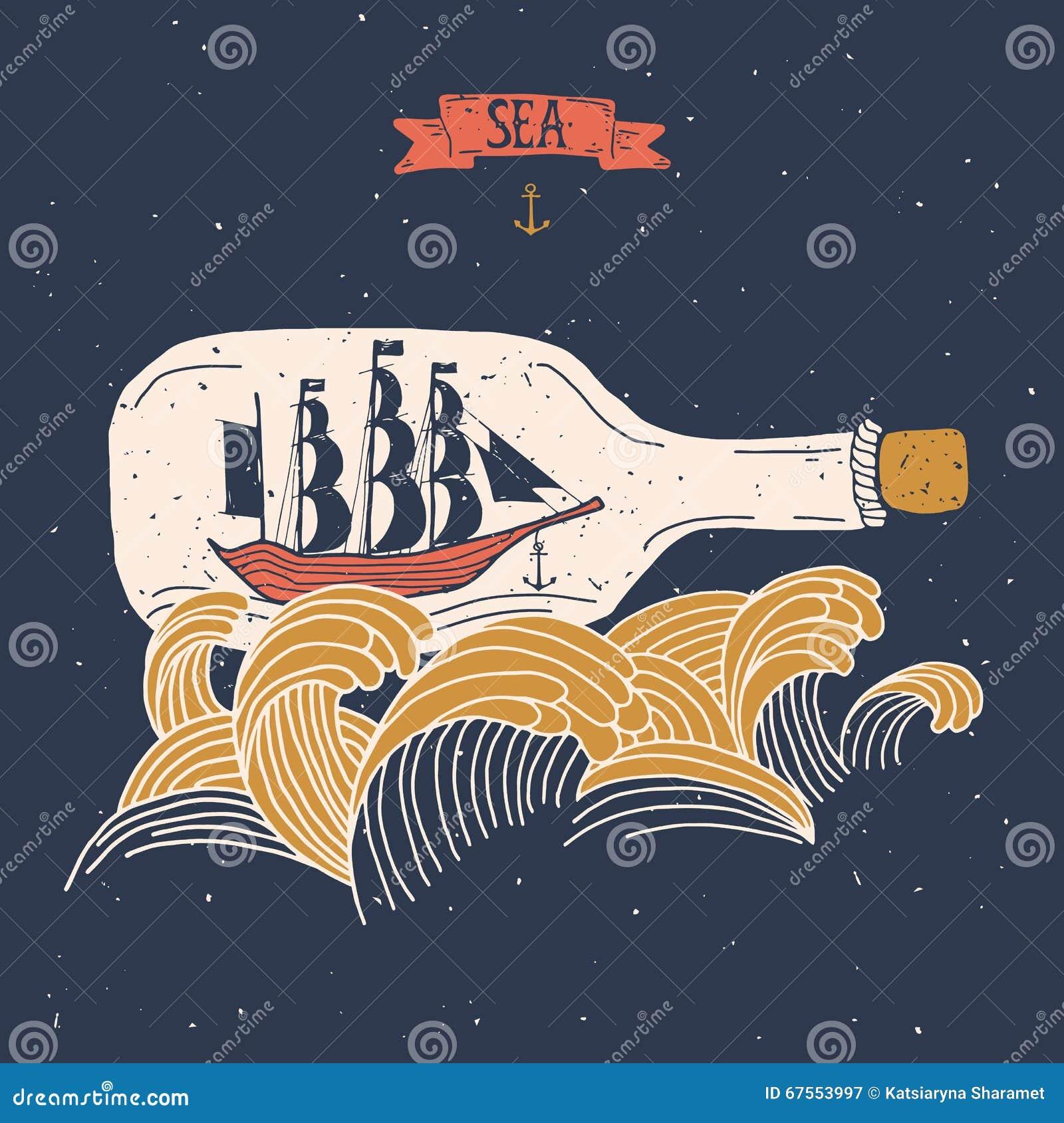 Nave di navigazione nella bottiglia