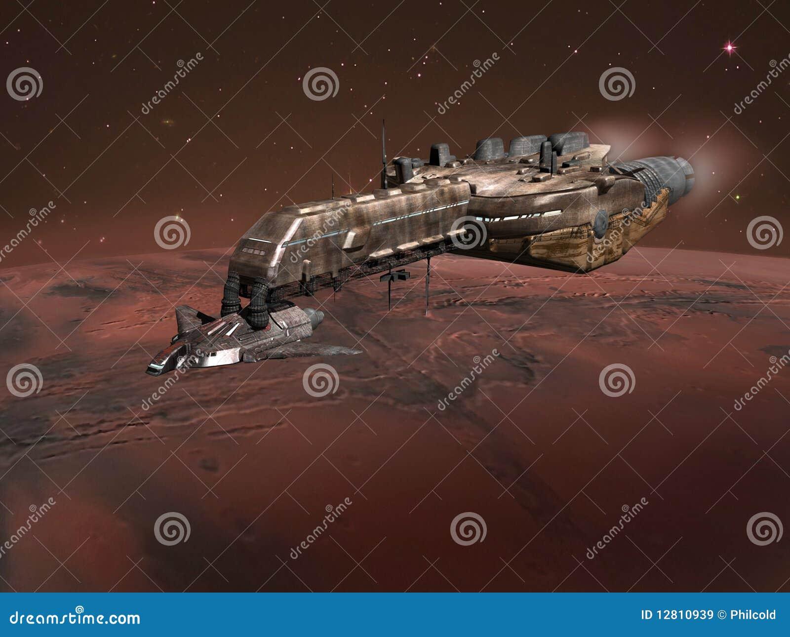 Nave espacial acima de Marte