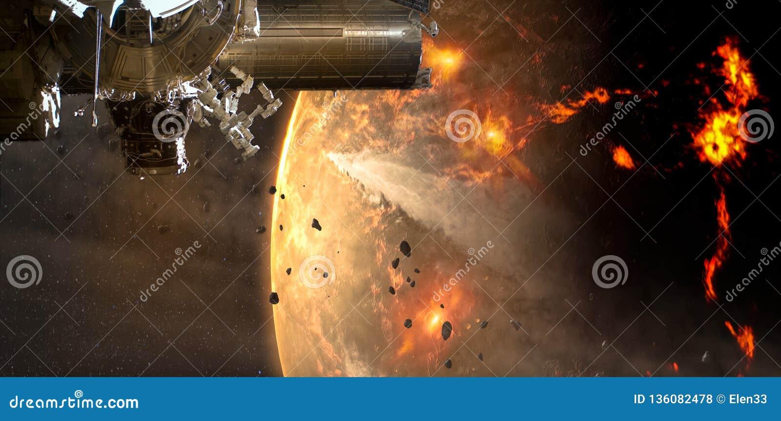 A nave espacial chega no asteroide estrangeiro do planeta