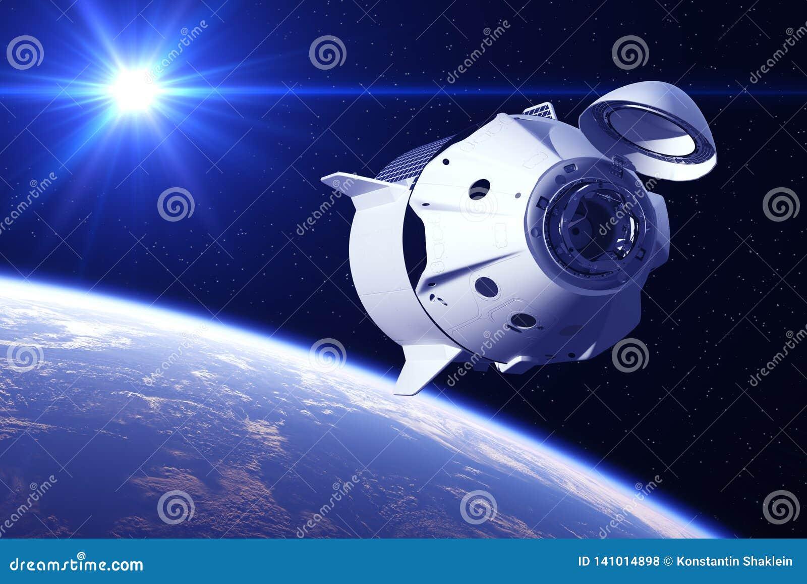 Nave espacial comercial en los rayos de Sun