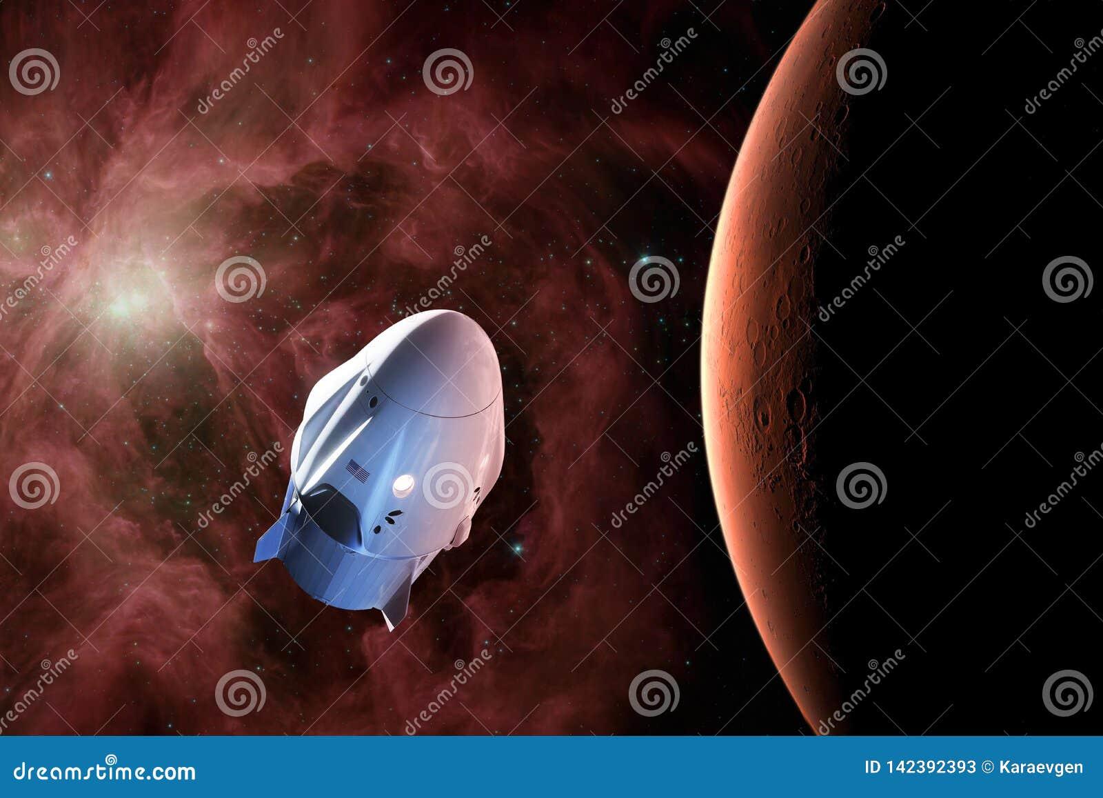 Nave espacial da carga na órbita de baixo-Marte Elementos desta imagem fornecidos pela NASA