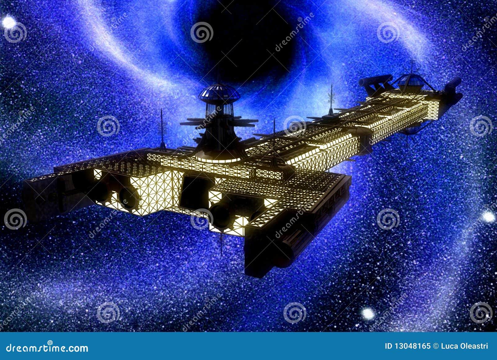 Nave espacial e estrelas