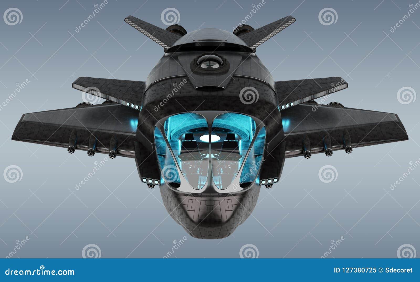 Nave espacial futurista aislada en la representación gris del fondo 3D