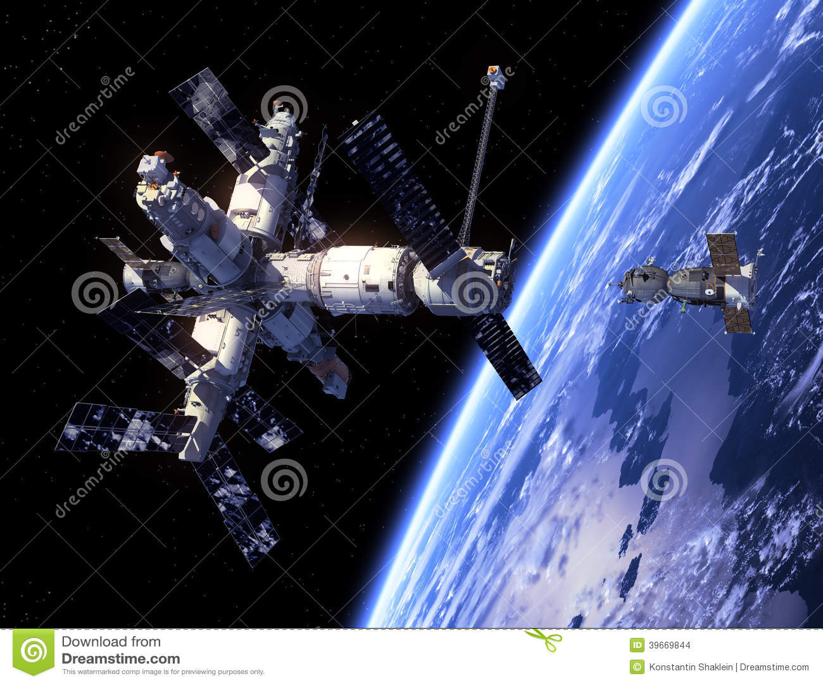 Nave espacial Soyuz y estación espacial.