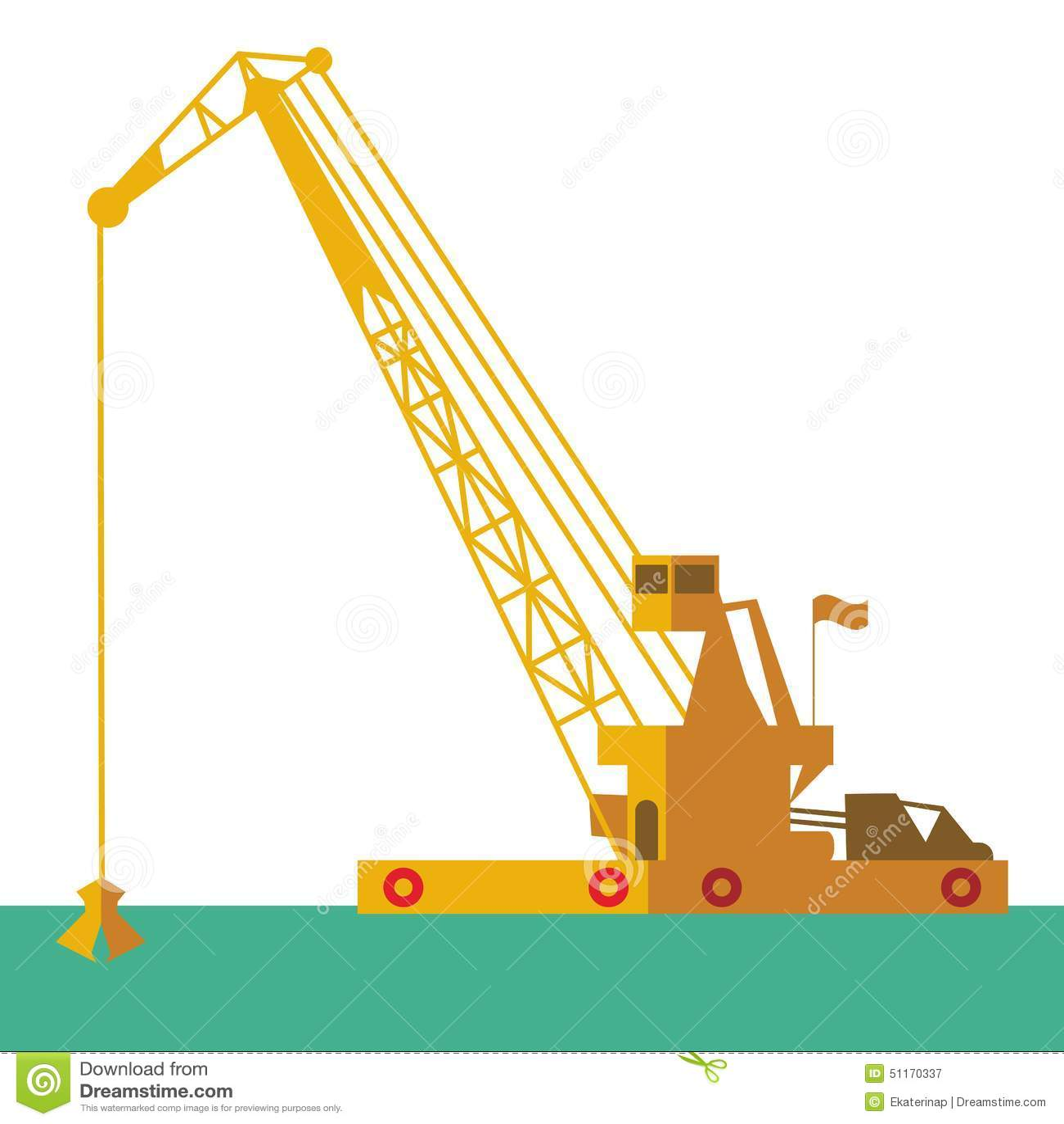Nave industriale della chiatta gru enorme che scava il fondo del mare di scavatura di dragaggio del marinaio della sabbia Vettore