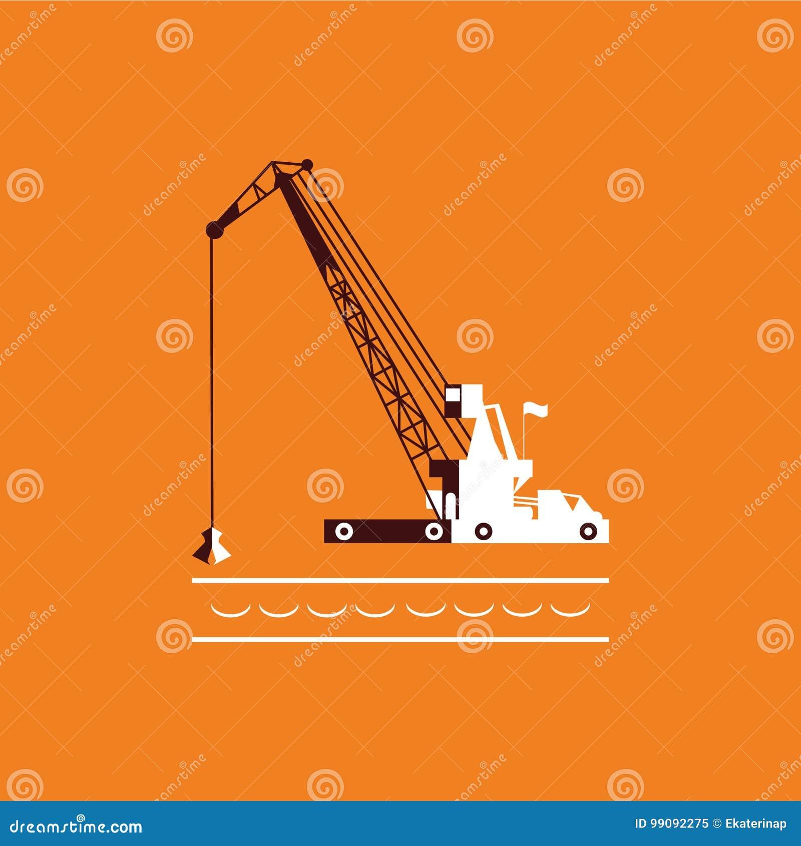 Nave industriale della chiatta gru enorme che scava il fondo del mare di scavatura di dragaggio del marinaio della sabbia marrone