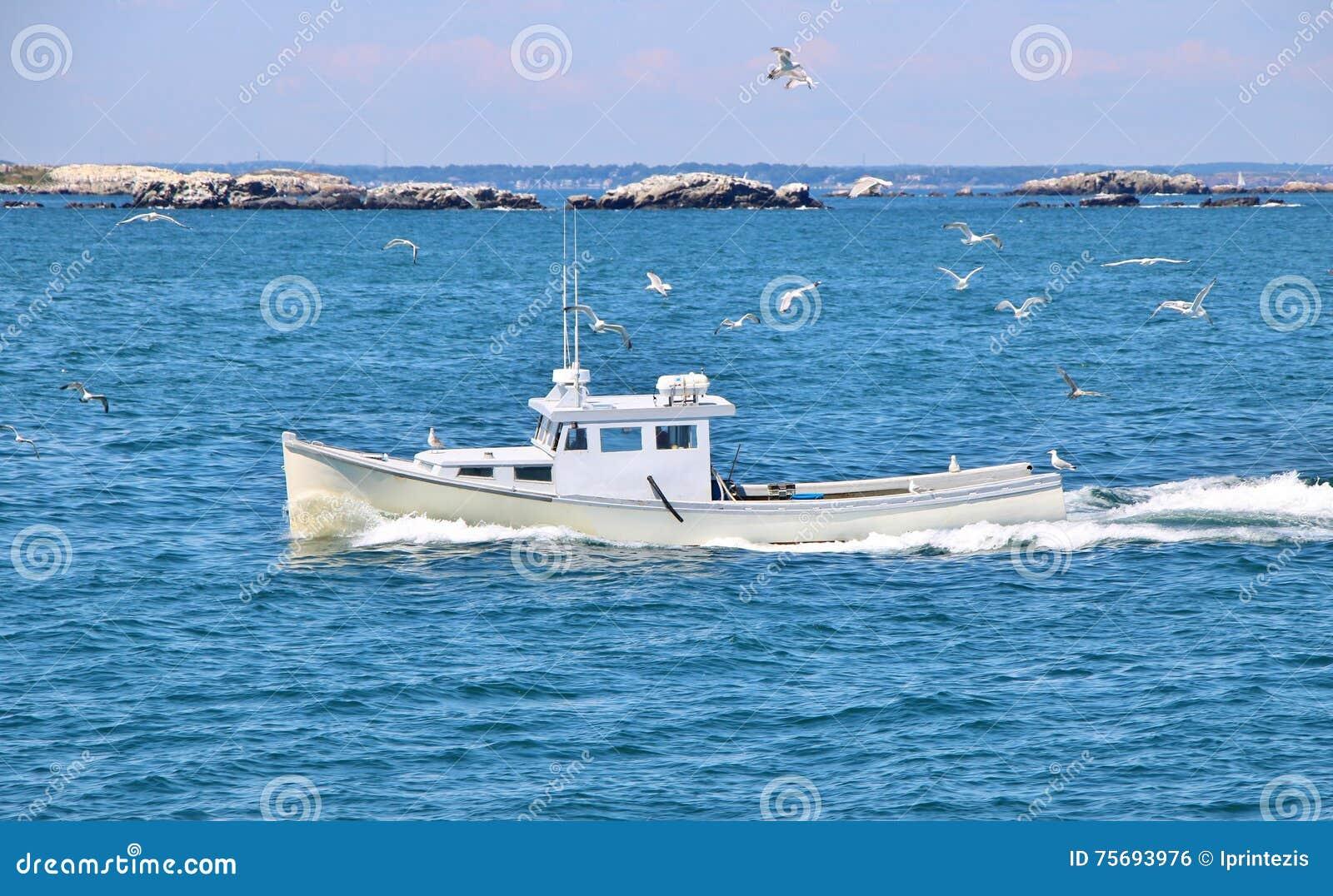 Navegación blanca del barco en el océano
