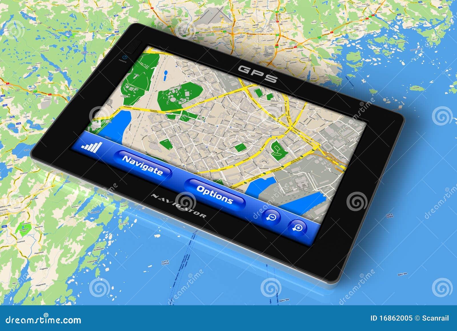Navegador del GPS en correspondencia