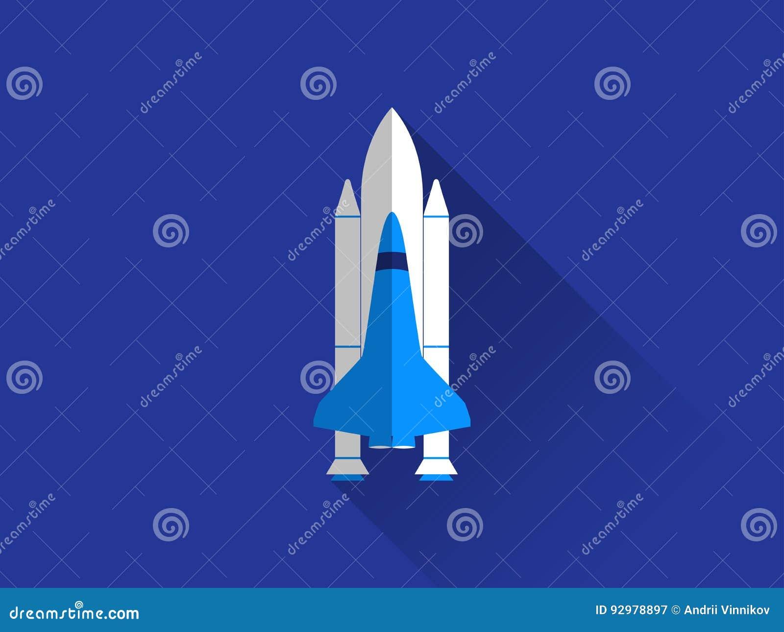 Navette spatiale dans un style plat avec une longue ombre Vecteur