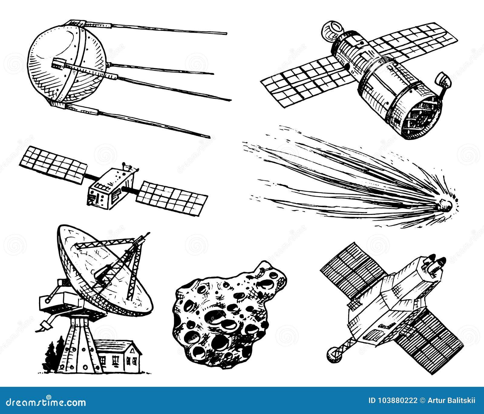 Navette spatiale, radiotélescope et comète, asteroïde et météorite, exploration d astronaute gravé tiré par la main dans vieux