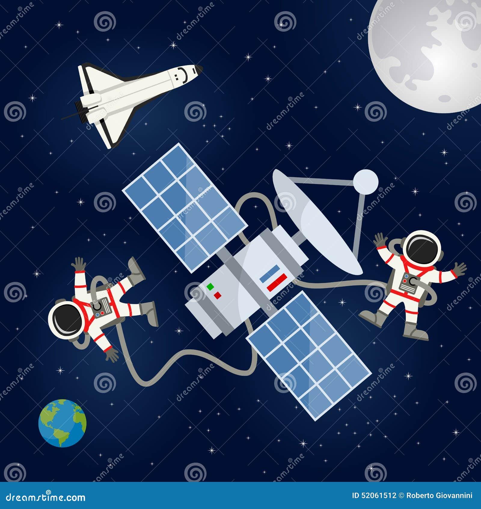 Navette spatiale, satellite et astronautes
