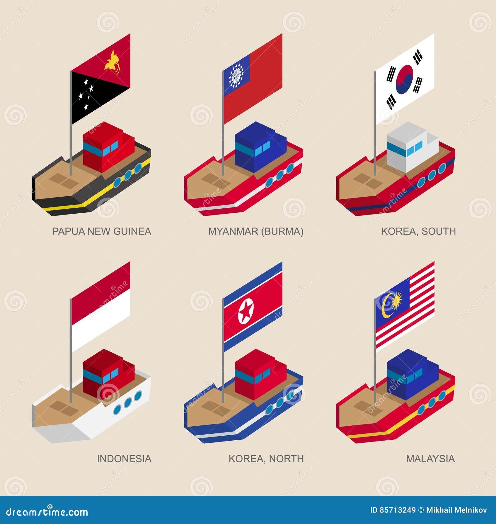 Navi isometriche con le bandiere: La Papuasia Nuova Guinea, il Myanmar, sud e la Corea del Nord, Indonesia, Malesia