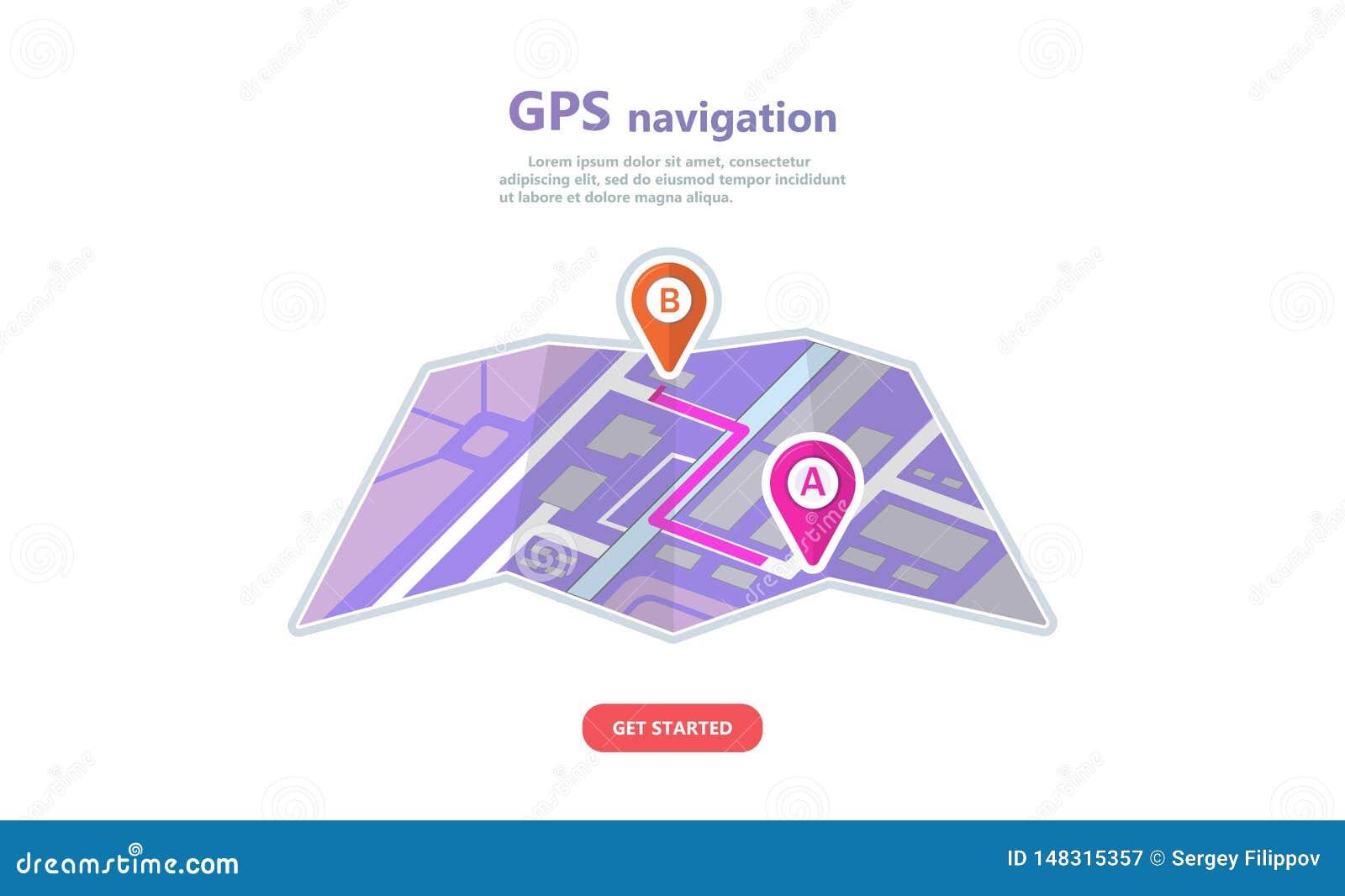 Navigation de GPS de concept, emplacement de point sur une carte de ville