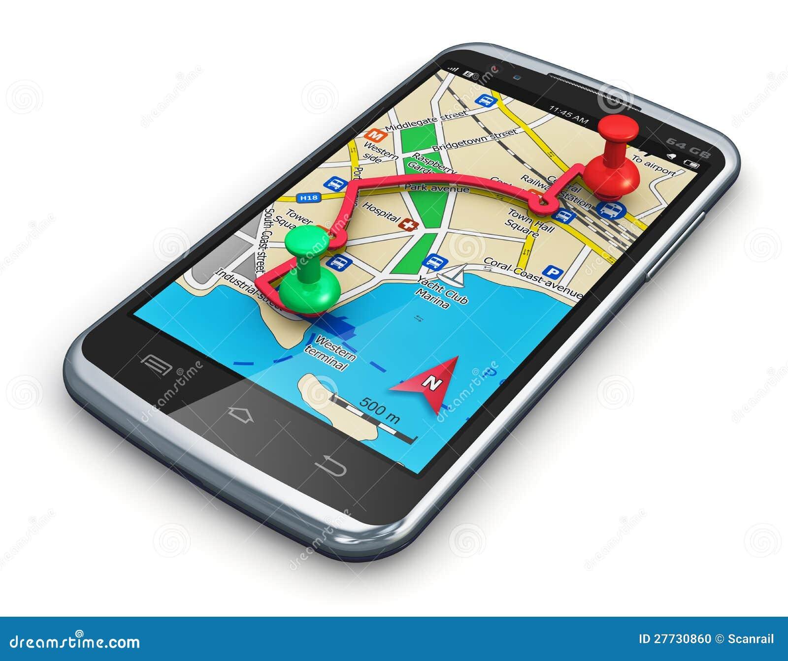 Navigation De GPS Dans Le Smartphone Photo stock