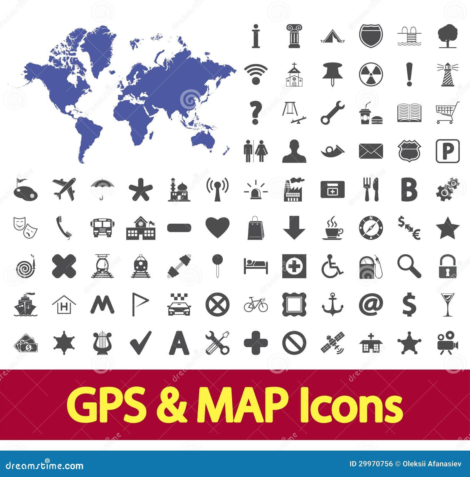 Navigation Map Icons. Royalty Free Stock Image - Image: 29970756