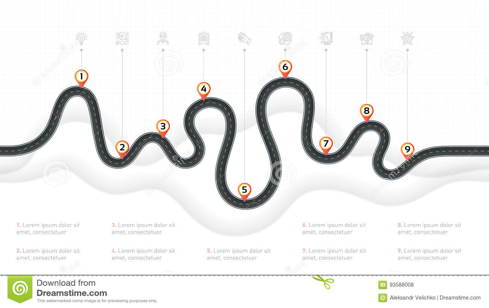 Navigation map infographic 9 steps timeline concept. Winding roa
