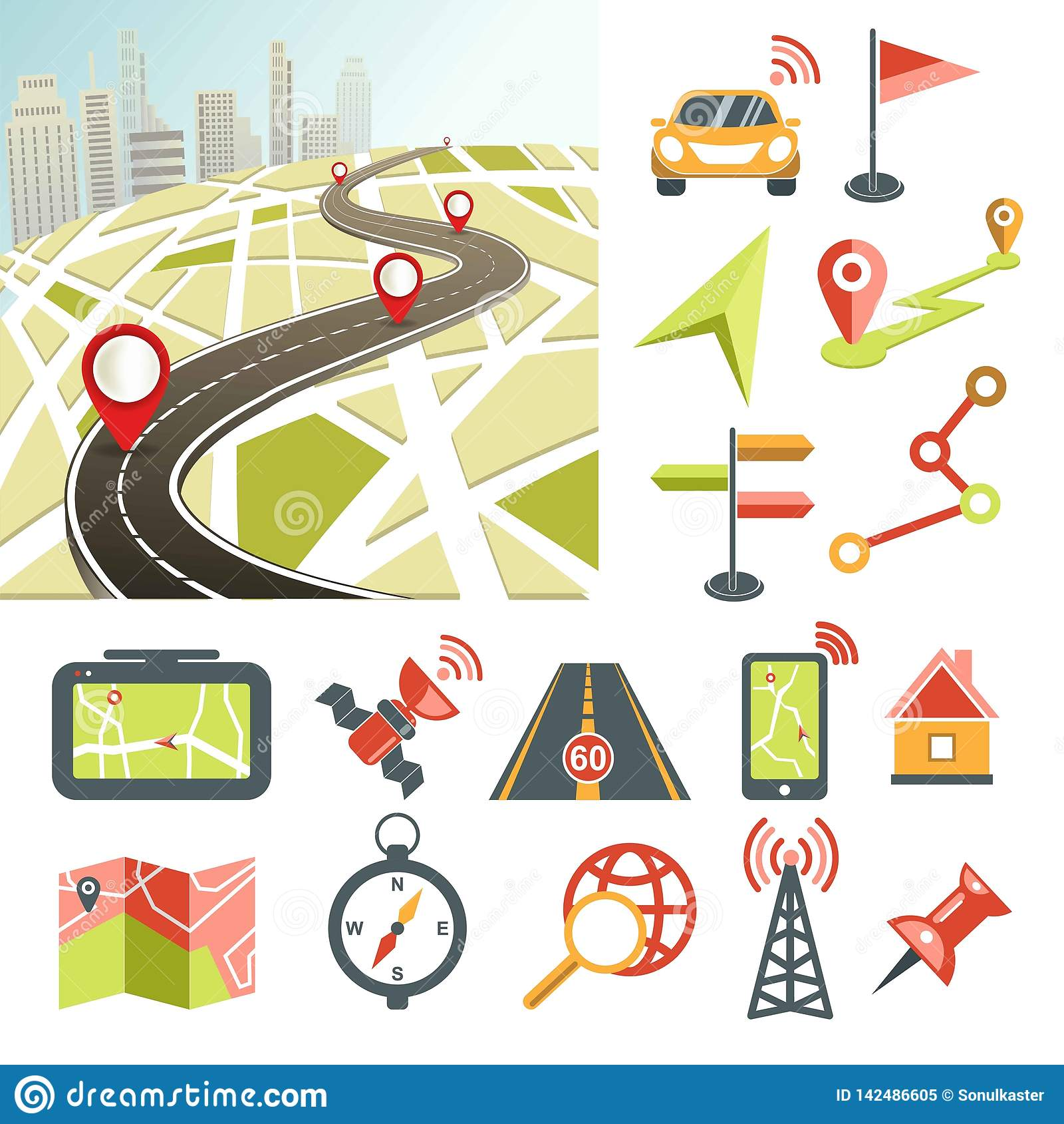 Navigation Map Road And Direction Navigative Symbols And