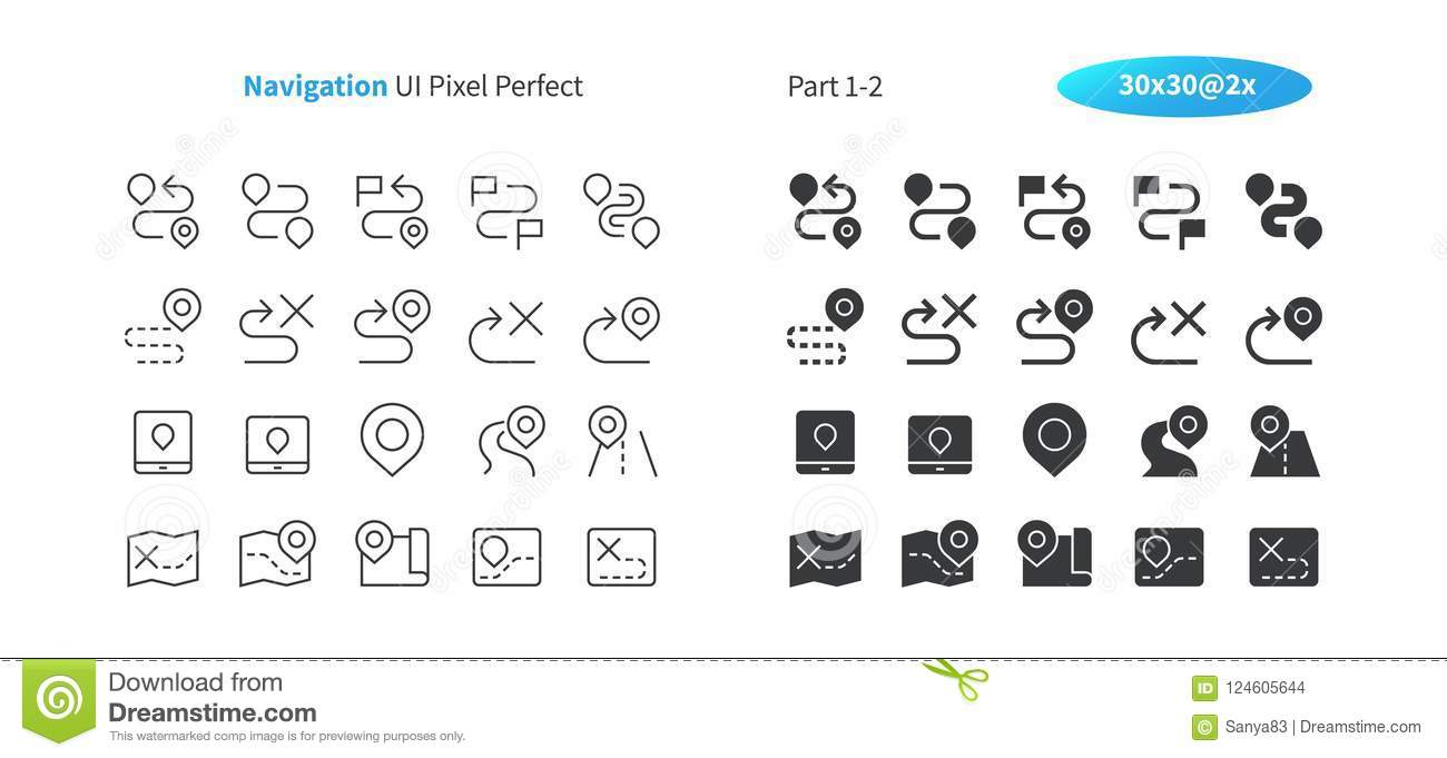 Navigation UI Pixel Perfect Well-crafted Vector Thin Line