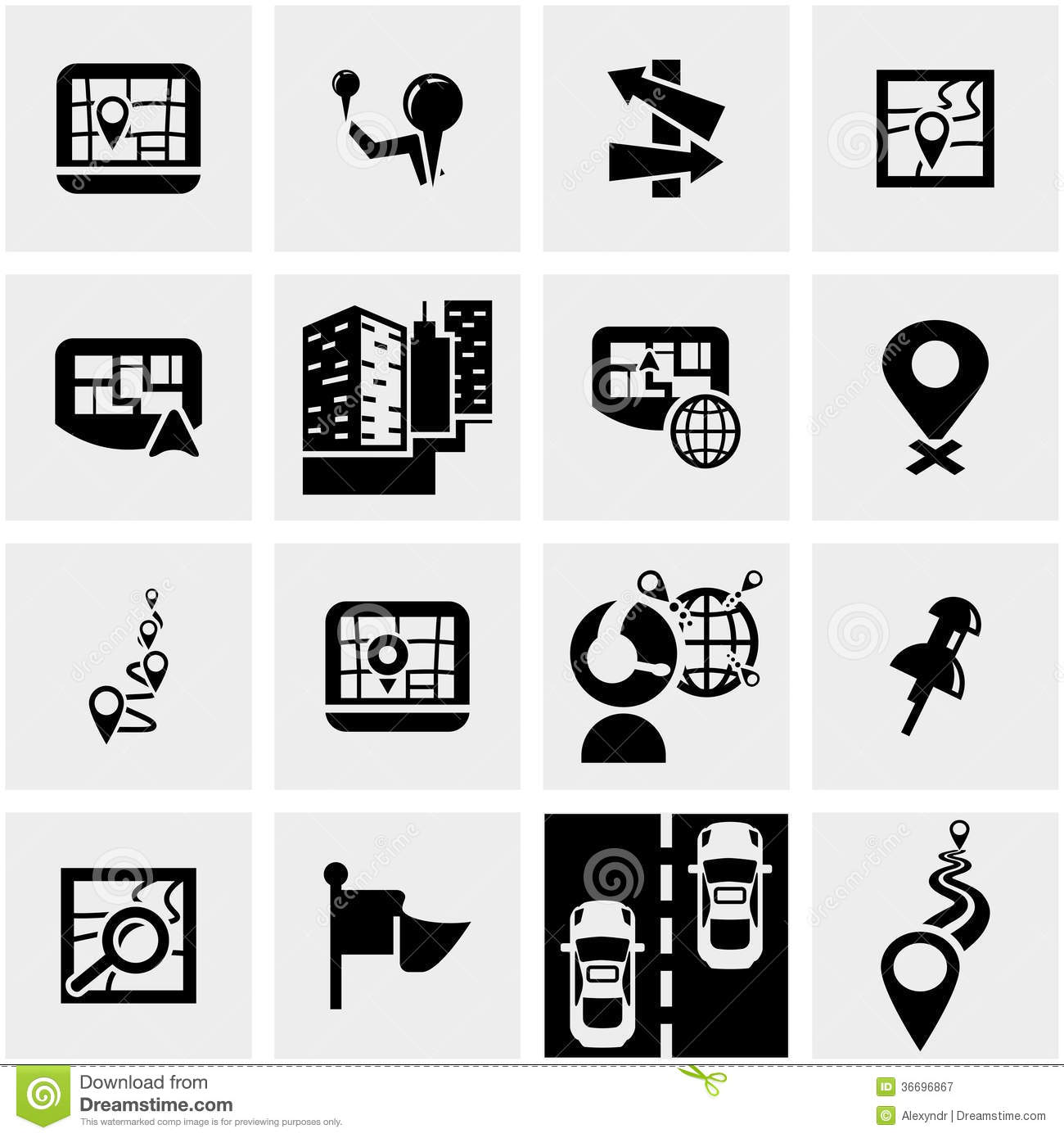 navigation vector icon set on gray royalty free stock