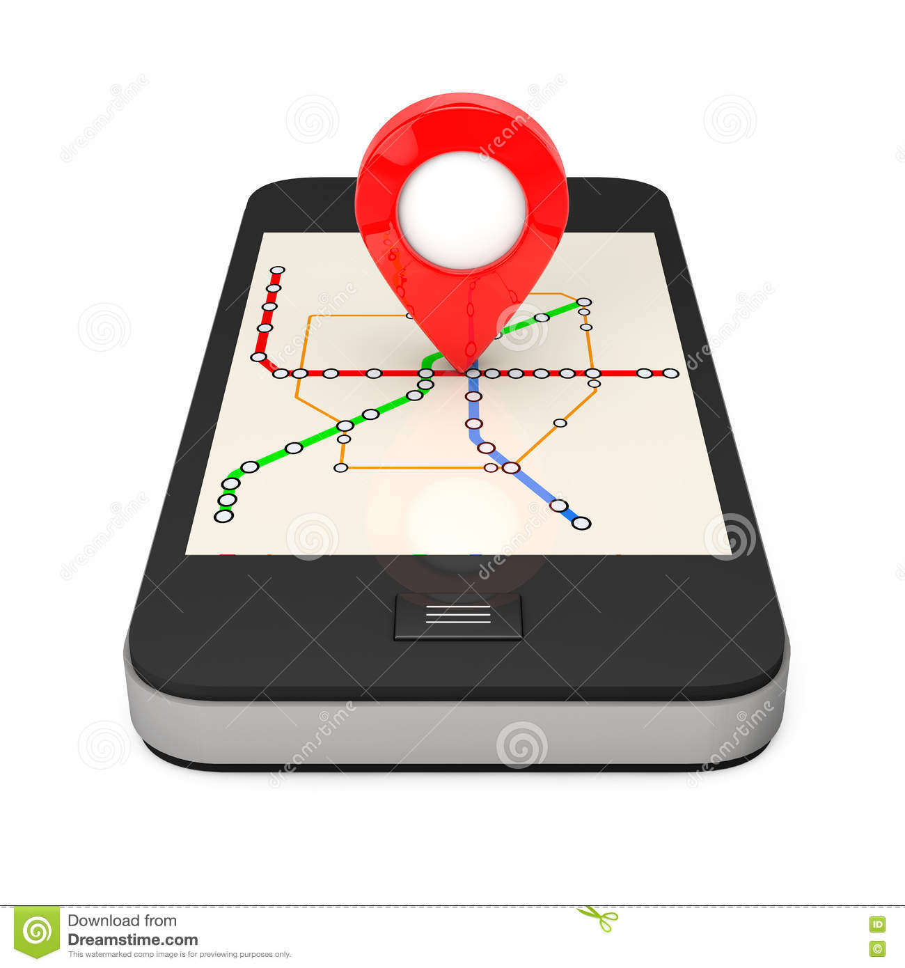 Subway Map Phone.Navigation Via Smartphone Location Pointer On Phone With Abstract