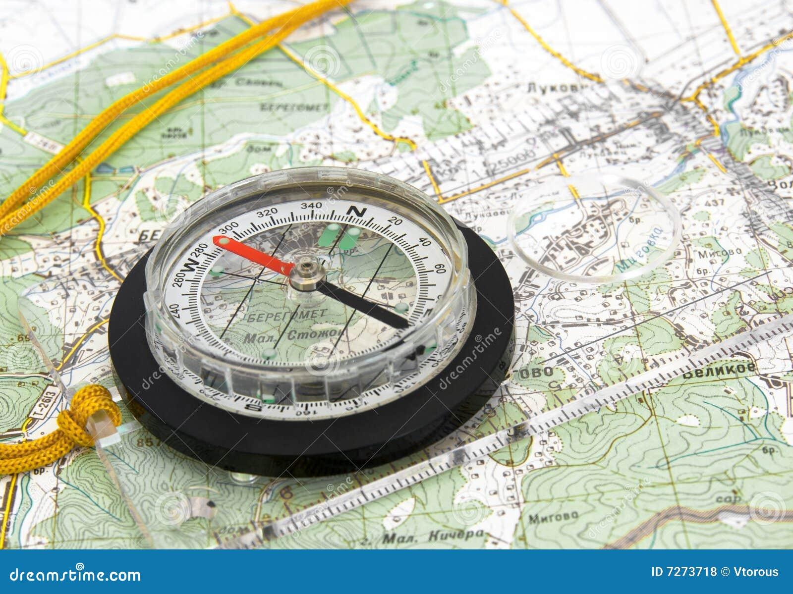 Navigations- topografisk för kompassöversikt
