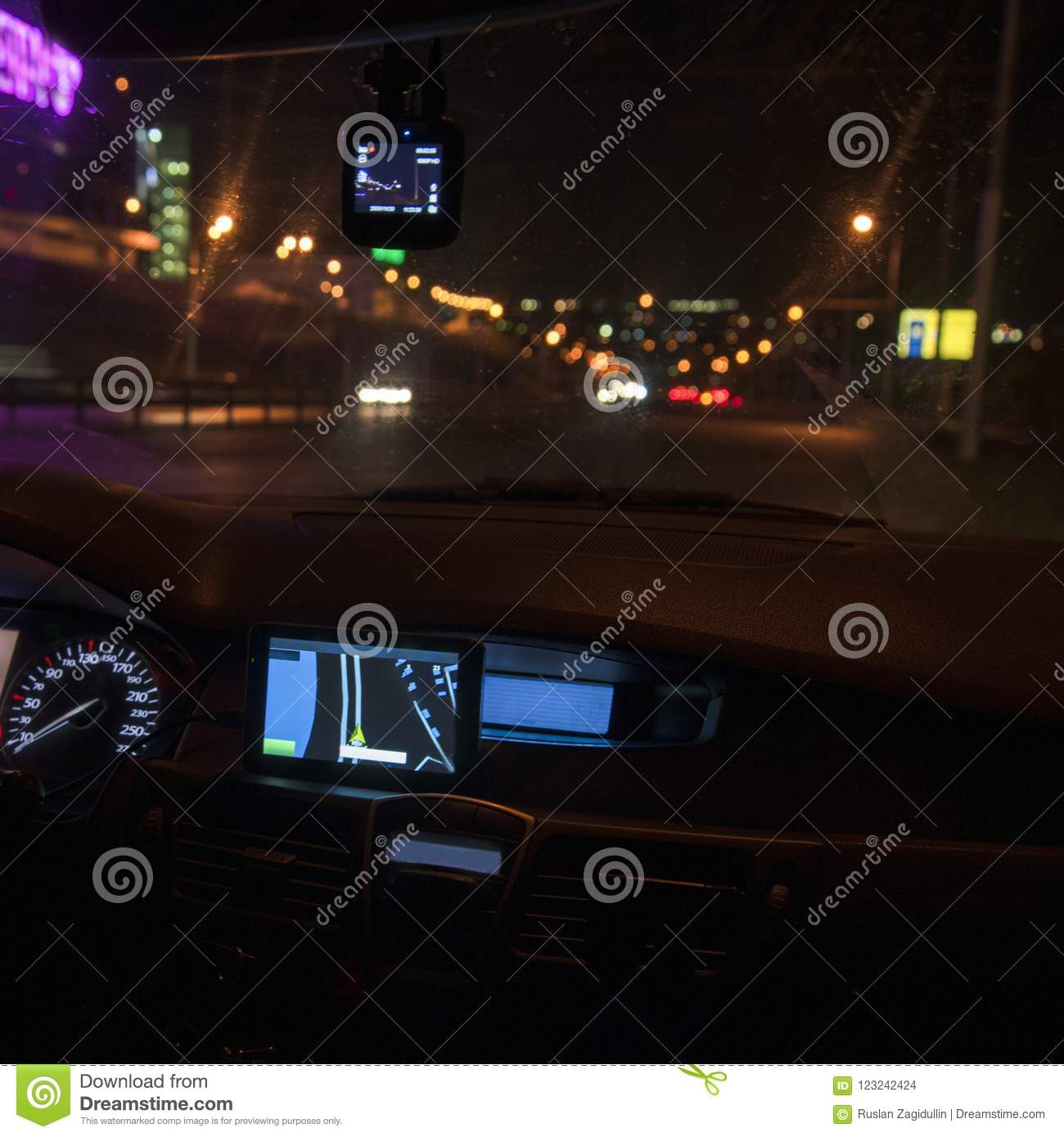 Amazing Download Navigator Panel Of The Car At Night. The City Lights Stock Photo    Image