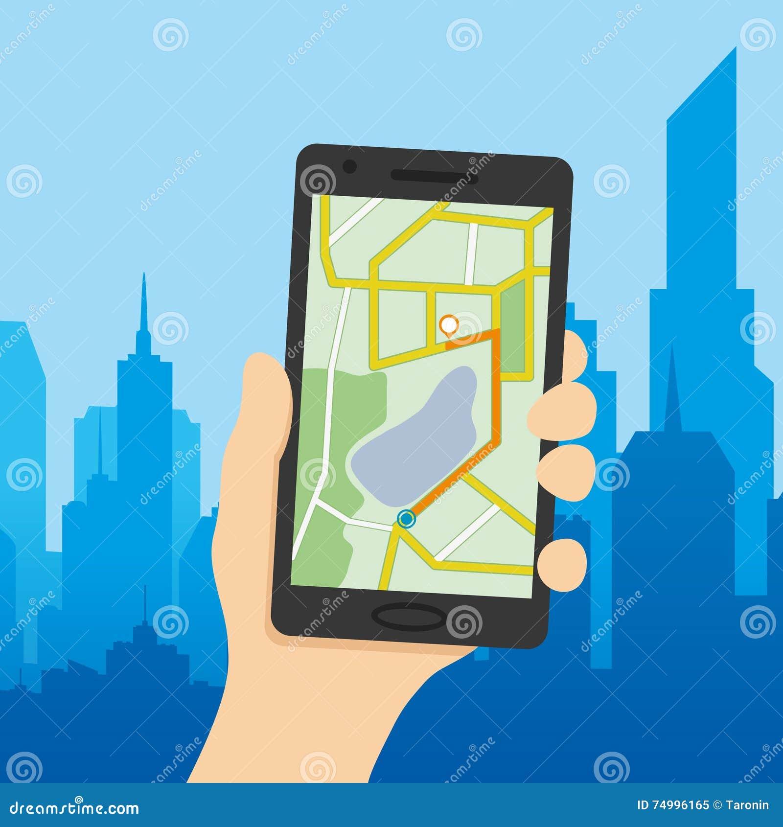 Navigeringöversikt på en smart telefon